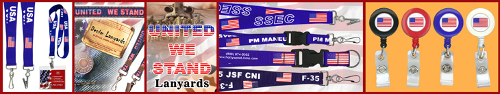 American Flag Retractable Name Badge Holder Lanyards With Pre-Printed and Custom Printed Logos