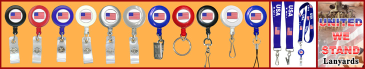 American Flag Retractable Badge Reel Lanyard With Pre-Printed and Custom Printed Logos