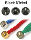 "1/8""(D) Black Nickel Finish Steel Iron Cord Ends: with 1/8""(D, Top Hole) x 3/16""(D, Bottom Hole)"