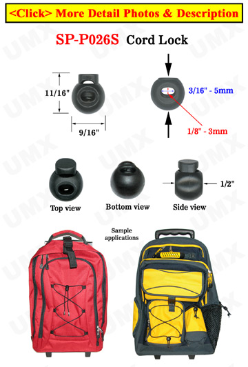 "Mini Cord Lock: Round Shape - One Hole - 1/8""(D)=3mm(D)"