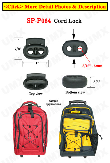 Small Order: Cord Locks: Oval Shape, Flat Surface, Two-Holes Plastic Locks