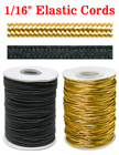 "Small Order: Thin Elastic Round Cords: Stretchy Cords By The Foot - 1/16"" (D)"