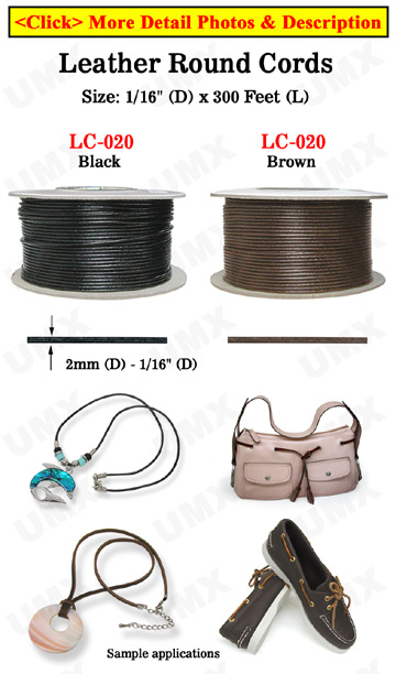 "Thin Leather Cord: By The Spool (Roll) / 300 ft - 1/16"" (D) Leather Round Cords"