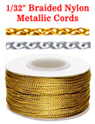 "Small Sample Order: Braided Nylon & Metallic Cords: By The Foot - 1/32"" (D)"