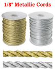 "Metallic Color Nylon Cords: By The Spool (Roll) / 150 ft - 1/8"" (D) CD-030-Metallic-Color/Per-Spool-150Ft"