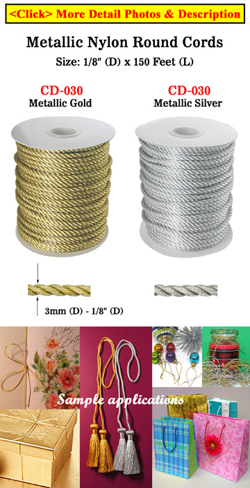 Metallic Nylon Craft Cords: By The Foot: Small Sample Order