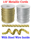 "Small Sample Order: Steel Metal Wired Nylon Cords: By The Foot - 1/8"" (D) CD-030S-Steel-Wired/Per-Foot"