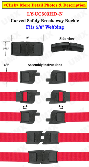 Plastic Breakaway Neck Lanyard Buckles Flat Curved Safety Wrist