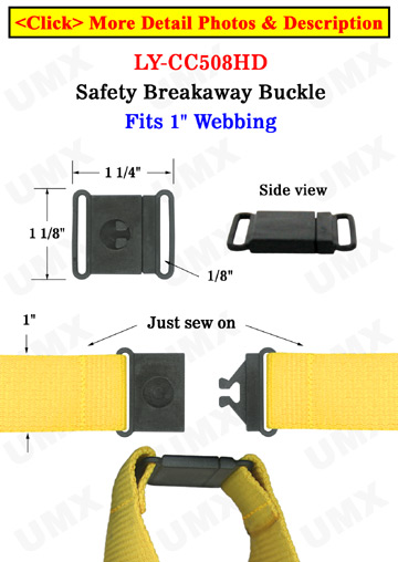"Sewn-On Large Breakaway Buckles: Large Safety Buckles: Fit 1"" Wide Lanyards"