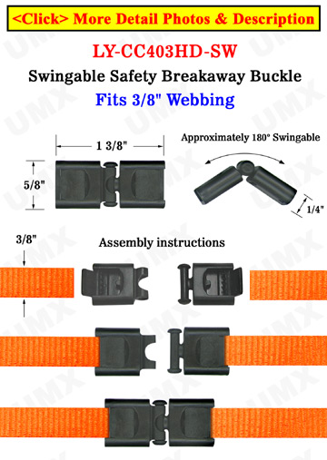 Safety Buckles: Small Swingable Breakaway Buckles - 3/8""
