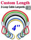 "4"" Color Coated Cable Lanyards With Two Loop-Ends LY-2LE-W02P-04/Per-Piece"
