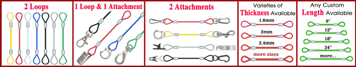 Stainless cable Lanyards: Steel Wire Rope Cord Lanyard Leashes For Sports, Marine, Hand Tools, Devices, Instruments and Industrial Assemblies Making Supplies