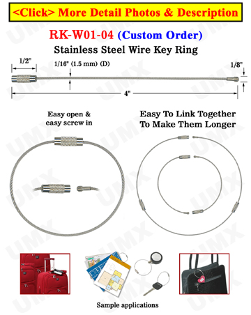 "6"" Cable Key Rings: Stainless Steel Wire Keyrings, Metal Ring Security Lanyards."