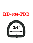 "3/4"" Black D-Rings - Military Style Textured Dull Black Color RD-034-TDB/Per-Piece"