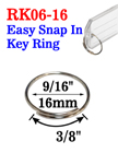 "9/16"", 16mm Easy Attach Key Rings: For Small and Light Weight Attachments RK-06-16/Per-Piece"