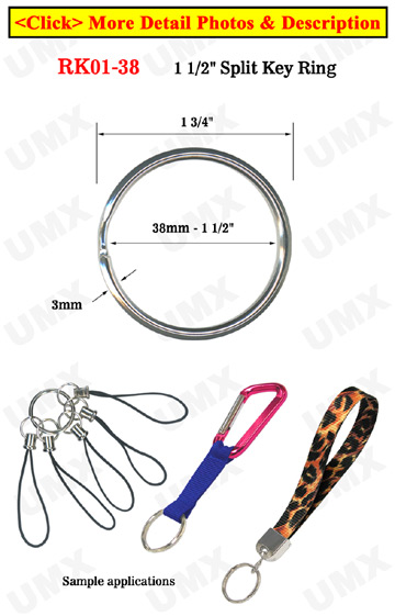 "1 1/2"",  38 mm Large Key Rings: Large Size Keychain Holders"