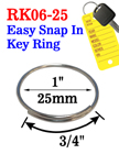 "1"", 25mm Popular Size Easy Open Metal Key Rings"