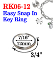 "7/16"", 12mm Small Size Easy Snap-in Metal Key Rings"