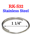 "1 1/4"" Stainless Split Keyring: Made of Anti-Rust Stainless Steel Metal RK-S32/Per-Piece"
