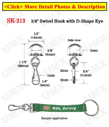 "3/8"" Small D-Eye Swivel Hooks: For Small Round Cords or Flat Straps"