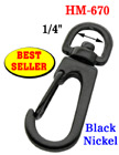 "1/4"" Best Seller Spring Wire Gate Bolt Snap Hooks: For Small Round or Flat Cords HM-670/Per-Piece"