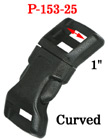 "1"" Large Curved Shape Side Release Plastic Buckles: For Wide Fastening Straps P-153-25/Per-Piece"