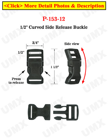 "1/2"" Small Wrist Band Plastic Buckles: Curved Wrist Strap Buckles"