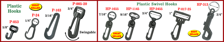 Plastic Hooks:  Snap Hooks, Swivel Hooks and Hooks with Metal Key Rings Suppliers and Manufacturers