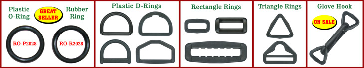 Plastic Rings:  Plastic O-Rings, Plastic D-Rings, Plastic Triangle-Rings or Tri-Rings, Plastic Square-Rings, Plastic Rectangle-Rings, Plastic Rectangular-Rings  and Plastic Hexagon-Rings