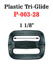 "1 1/8"" Medium Size Plastric Tri-Glides: Strap Adjusters P-003-28/Per-Piece"