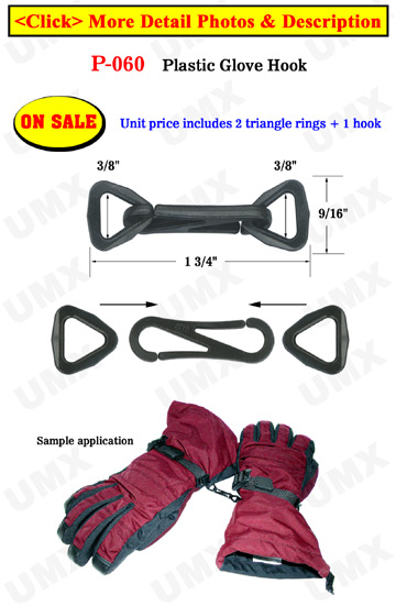 "3/8"" Strap Glove Hooks: For Gloves, Vests, Furniture or Bed Spreads"