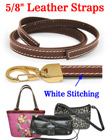 "Stitched-Enhanced Leather Straps: Thick Genuine Flat Leather 5/8""(W)x44""(L) LS-5844-ST/Per-Piece"