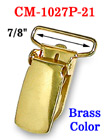 "7/8"" Brass Finish Suspender Clips With Fabric Protecting Plastic Teeth CM-1027P-21/Per-Piece"