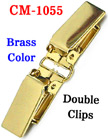 "5/8"" Double Clips: Metal Suspender Clips Without Plastic PVC Teeth: Brass Color CM-1055/Per-Piece"