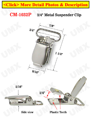 "3/4"" Finger Tip Style Metal Suspender Clips With Plastic Protection Insert: Nickel Color"