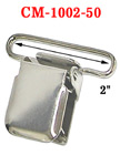 "2"" Big Heavy-Duty Suspender Clips With Heavy Weight Metal Jaw Without Plastic PVC Teeth: Nickel Color"