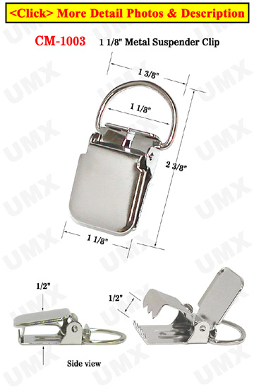 "1 1/8"" D-Eye Heavy Duty Metal Suspender Clips With Strong Locking Jaw Without Plastic PVC Teeth: Nickel Color"