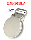 "1/2"" Round Metal Suspender Clips With PVC Plastic Teeth To Protect Fabrics: Nickel Finish CM-1019P/Per-Piece"