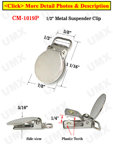 "1/2"" Round Metal Suspender Clips  With PVC Plastic Teeth To Protect Fabrics"