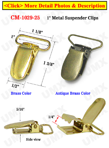 "1"" Simple Metal Suspender Clips Without PVC Plastic Insert"