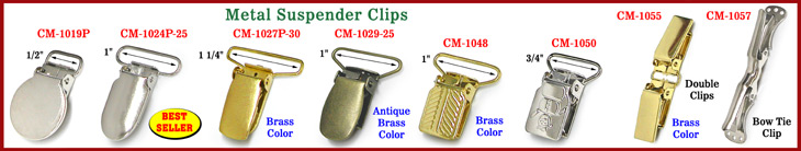 Suspender Clips, Baby Pacifier Clips and Bow Tie Clips Made Of Heavy Duty Steel Metal Or Acrylic Plastic Material