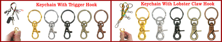 Keychains:  Steel Metal, Plastic, Elastic, Fabric & Leather Key Chain Ring Holder Hardware Accessories