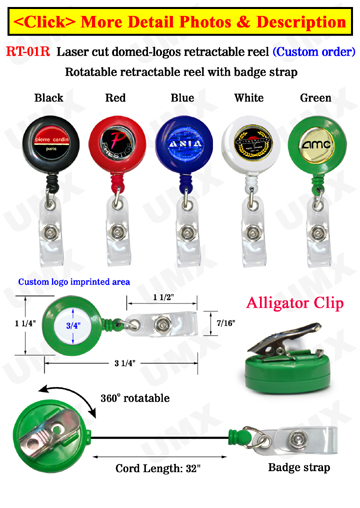 Laser Cut Customized Badge Reels With Domed Logo Cover Protection