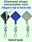 Diamond Shaped Retractable Accessory Reels With Alligator Clips RT-04-QAC/Per-Piece