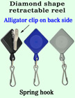 Diamond-Shaped Retractable Security Access Card Reels With Alligator Clips