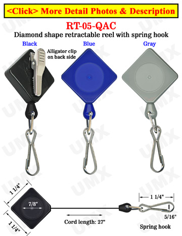 Diamond Shape Retractable Security Access Card Reels With Alligator Clips