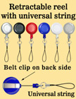 Retractable Reels With Universal Cell Phone Strings