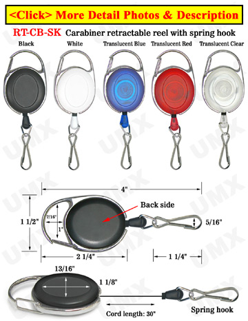 Carabiner Retractable Spring Hooks For Small Hardware Attachment