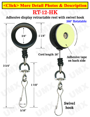 Rotatable Retractable Displays With Adhesive Backs and Swivel Hooks