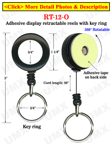 Rotatable Retractable Displays With Adhesive Backs and Keychains